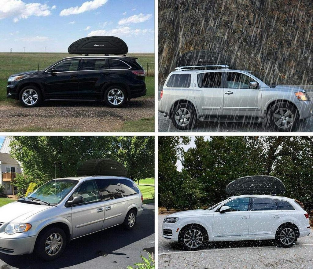 A multiple image of cars with the cargo roof box