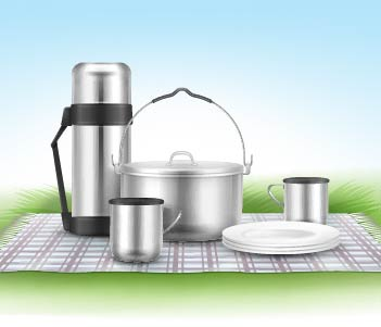 8.Pots, plates, cups and sporks